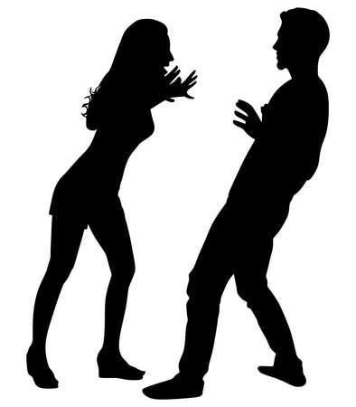 yelling: Girl yelling at his boyfriend, vector