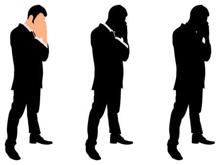 worried: worried businessman, vector Illustration