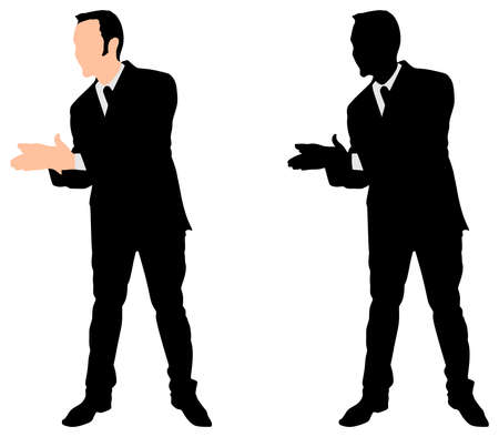 ecstatic: businessman clapping his hands, vector Illustration