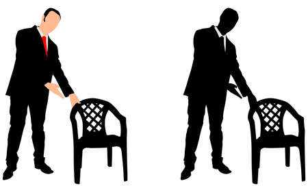 businessman shoes: successful businessman offered a chair, vector