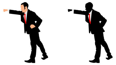 cut the competition: businessman in boxing stance, vector