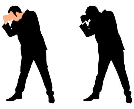 cut away: businessman in boxing stance, vector