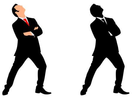 successful businessman look up, vector