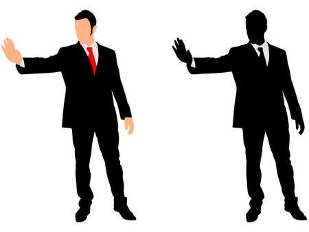 stop hand: businessman showing stop hand, vector Illustration