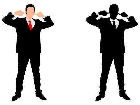 ignore: business man covering ears, vector