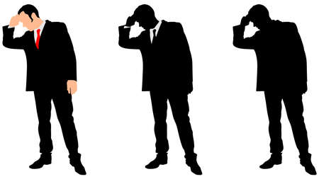 introverted: worried businessman with hand on forehead, vector Illustration