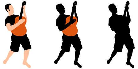 man playing guitar: young man playing guitar, vector