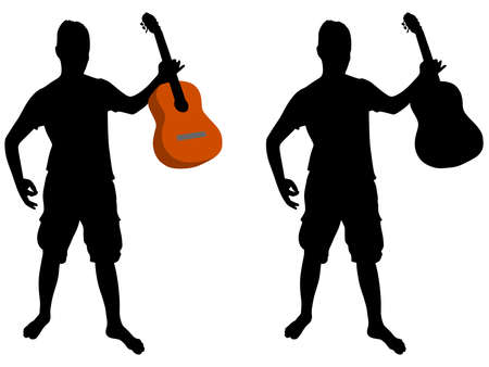 entertainer: young man playing guitar, vector