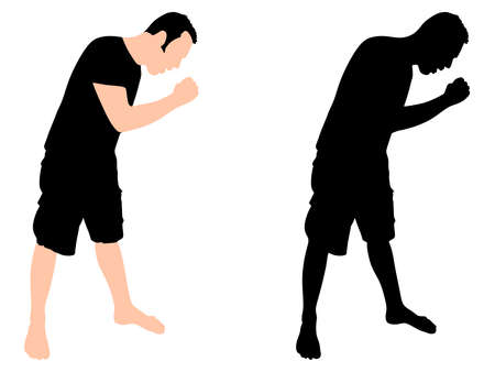 Man coughing, vector