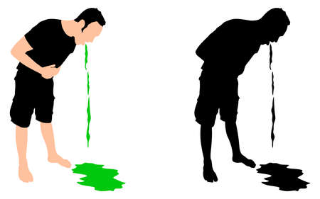 throw up: Man releasing a large stream of vomit, vector