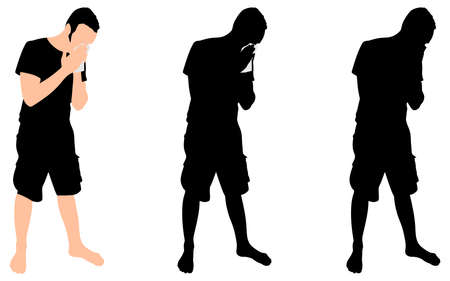 blowing nose: Young man blowing nose into a tissue, vector Illustration