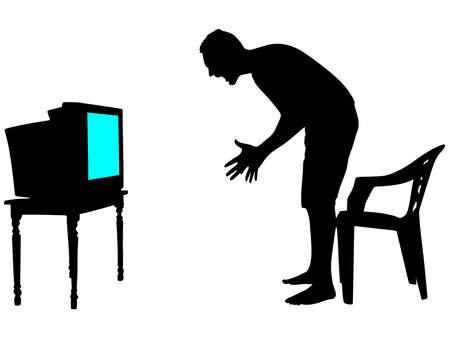 nerveus en boze man tv kijken, vector