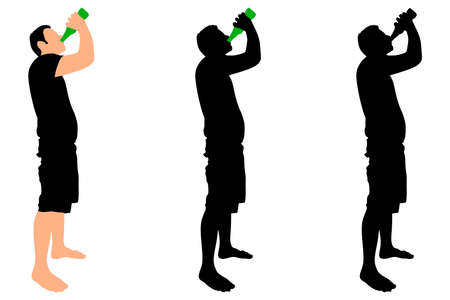 man standing alone: Casual young man drinking bottle of beer, vector