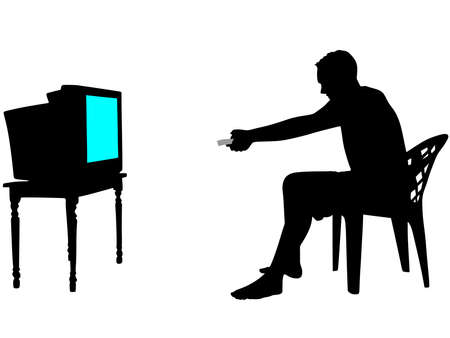 itch: Man watching television, holds a remote control, vector Illustration