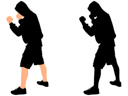 vandal: fighter man wearing black hoodie, vector