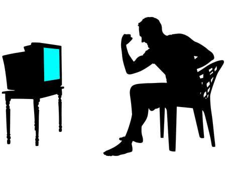 watching tv: man celebrating victory watching tv, vector Illustration