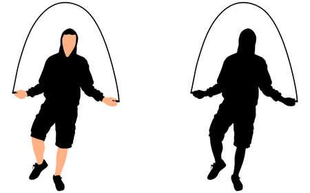 man jumping: Young man exercising jumping rope, vector Illustration