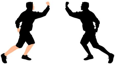 tough man: fighter man wearing black hoodie, vector
