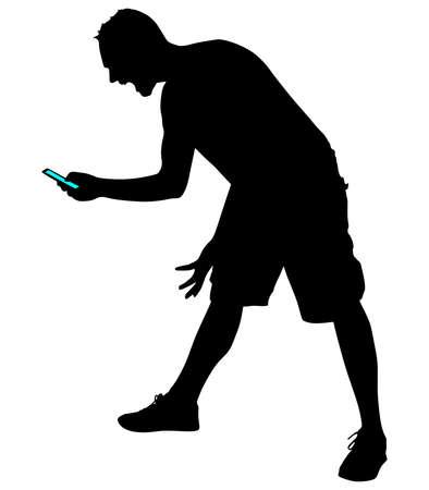 Angry young man schreeuwen met behulp van een mobiele telefoon, vector
