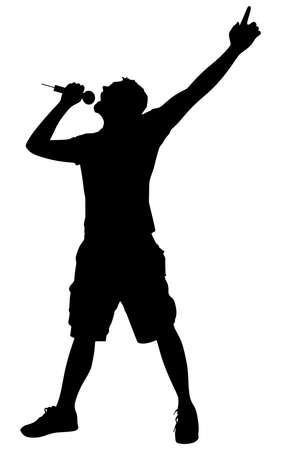 Man singing with a microphone, vector Stock Illustratie