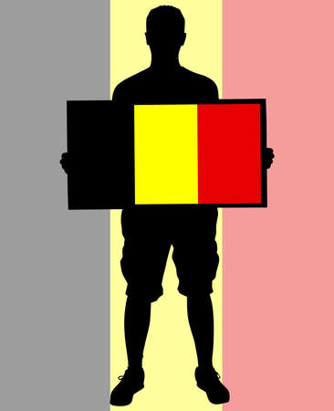 social history: holding a flag of belgium, vector