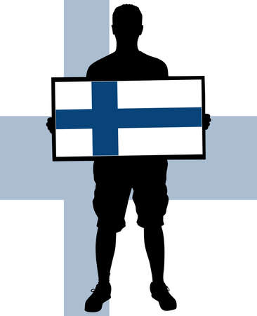 inhabitants: man holding a flag of finland, vector