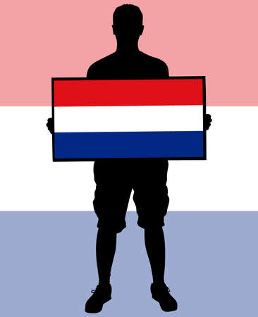 europa: man holding a flag of holland, vector Illustration