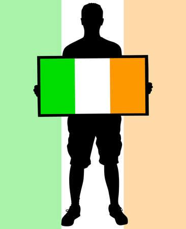 ireland flag: man holding a flag of ireland, vector