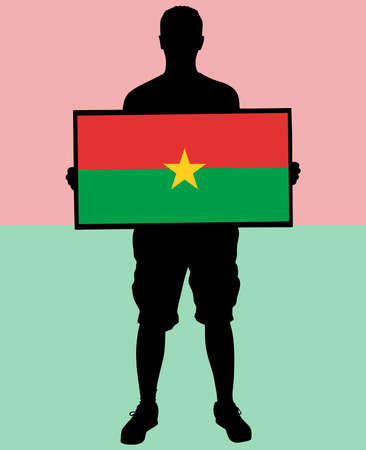 afrika: man holding a flag of Burkina Faso, vector Illustration