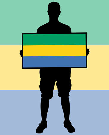 man holding a flag of Gabon, vector Illustration