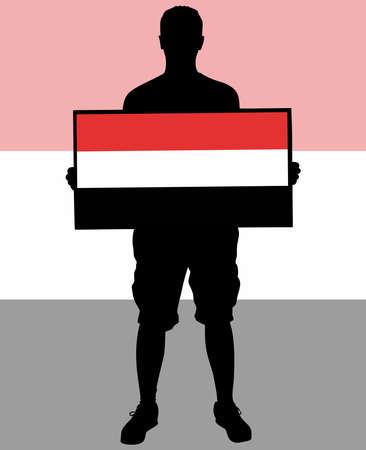 protest man: man holding a flag of Yemen, vector Illustration