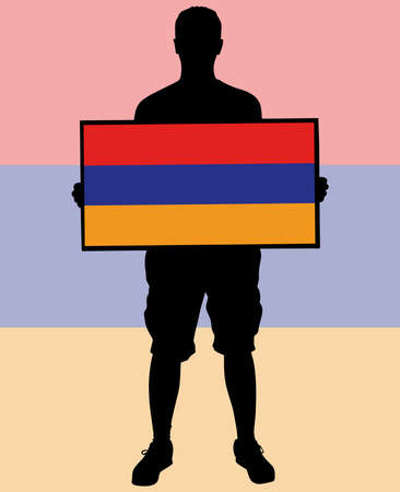 inhabitants: man holding a flag of Armenia, vector