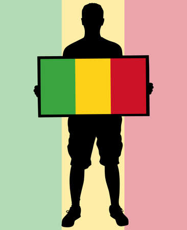 mali: man holding a flag of Mali, vector Illustration