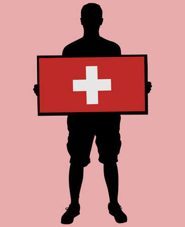 schweiz: man holding a flag of Switzerland, vector