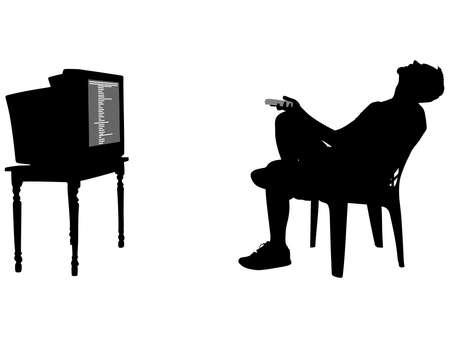 watching tv: Man fell asleep watching TV, vector Illustration