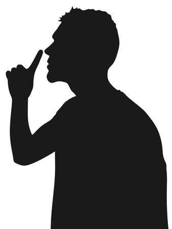 hush hush: young man showing hush sign, sideview, vector Illustration