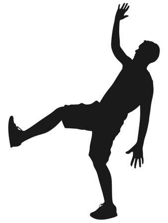 exaggerate: man slip and fall, vector
