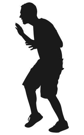 tiptoe: man walking tiptoe quietly, vector