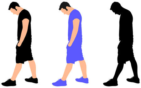 man looking out: young man sad walking, vector