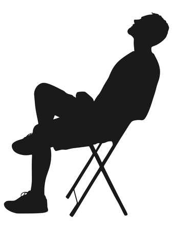 weary: Young man taking a break, vector
