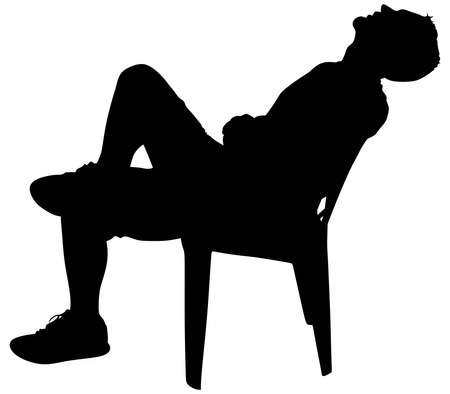 stubbly: Young man taking a break, vector