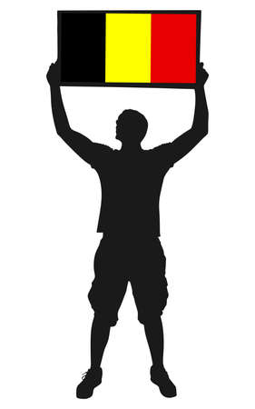 anthem: holding a flag of belgium, vector