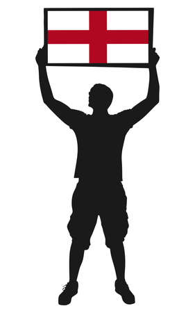 protest man: man holding a flag of england, vector Illustration