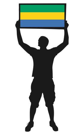 protest man: man holding a flag of Gabon, vector Illustration
