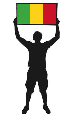 man holding a flag of Mali, vector Illustration