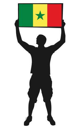 protest man: man holding a flag of senegal, vector Illustration