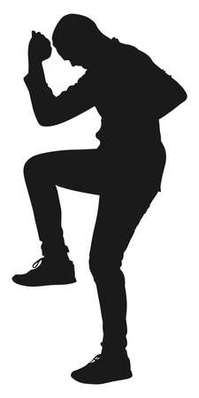 stance: man in boxing stance, vector