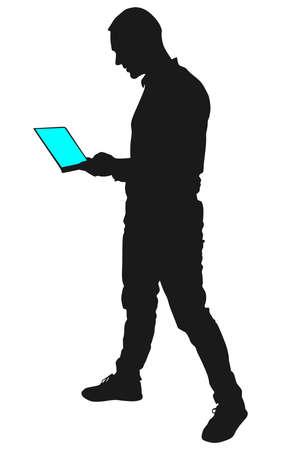 touchscreen: man holding touchscreen digital tablet, vector