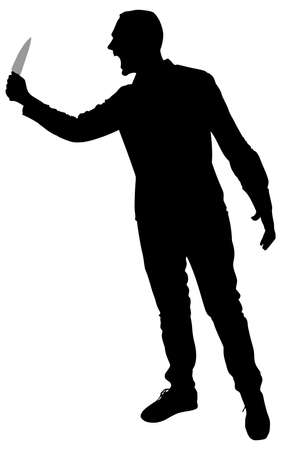 deathly: Horror Silhouette of Man with Knife