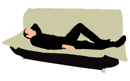 relaxing: Tired businessman sleeping on a sofa, vector Illustration